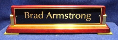 588 Rosewood Finish Desk Name Plate