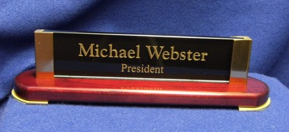 Rosewood Finish Desk Name Plate
